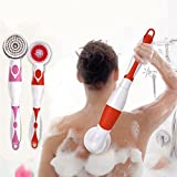 Yiwa 4 in 1 Electric Body Cleansing Brush Set Long Handle Massager Body Skin Care Tool