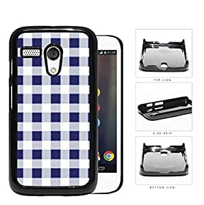 Plaid Design Pattern In Navy Blue Hard Plastic Snap On Cell Phone Case Motorola Moto G