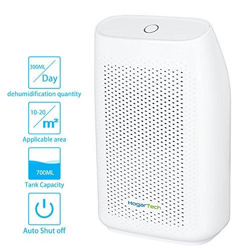 HogarTech Mini Dehumidifier, Ultra Quiet Portable Air Dehumidifier for Small room, Moisture Absorber for Bathroom Mini Air Purifier and Dehumidifier for RV, Grow Room, 24ounce Water Tank
