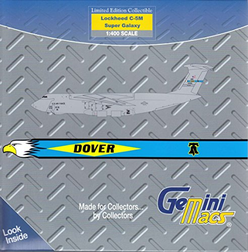 GeminiMacs Geminijets United States Air Force C-5M Super Galaxy Dover Base 1:400 Scale Diecast Model Airplane (1 Dover)