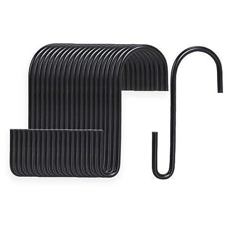 VIPITH 20 unidades de ganchos en forma de S de 3,7 pulgadas, negro, resistente al ...
