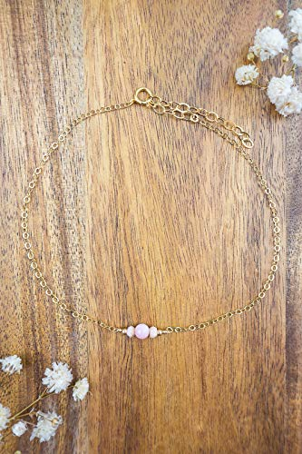 Dainty crystal pink peruvian opal anklet in 14k gold fill - 8