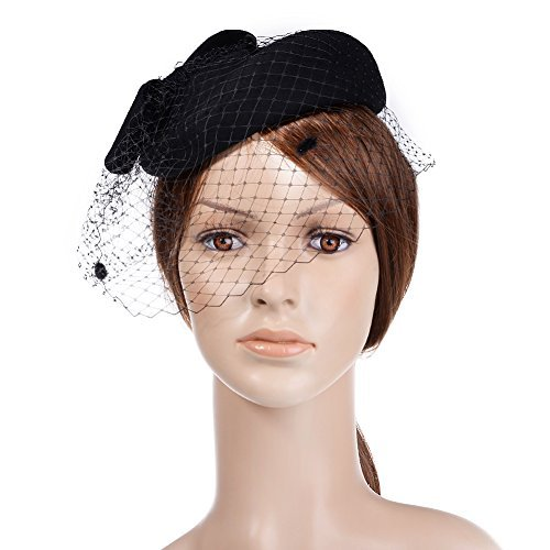 3842a79a4bb72 VBIGER Women s Fascinator Woolen Felt Pillbox Hat Cocktail Party Wedding  Bow Veil (Black) at Amazon Women s Clothing store