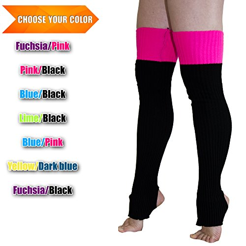 Leg Warmers Leggings Acrylic Body Knitted Long Dance Yoga One Adrenaline PD (Pink / Black)