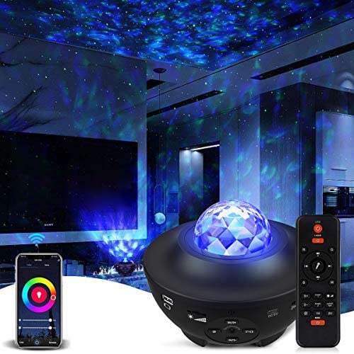 Galaxy Projector Star Projector Work with Alexa Google Home Galaxy Cove Projector with Bluetooth Music Speaker, Night Light Projector Remote Control Galaxy 360 Pro Galaxy Light Projector for Bedroom