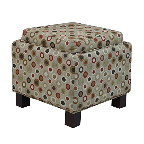 ModHaus Living Modern Square Upholstered Storage Ottoman with 2 Accent Pillows and Wood Legs in Espresso Finish - Includes Pen (Tan Circle Print) by ModHaus Living