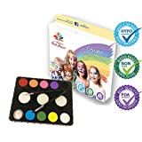 PartyPaint Essentials Face Paint Kit - Pro Quality Palette for Kids and Adults - Birthdays, Fundraisers, or Rainy Day Fun - FREE E-book & Tutorial Library - Highest Rated Face Painting Kit
