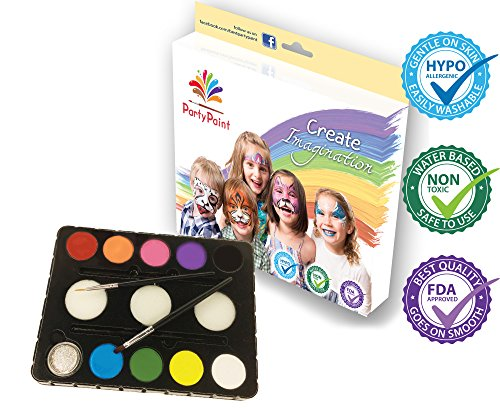 PartyPaint Essentials Face Paint Kit - Pro Quality Palette for Kids and Adults - Birthdays, Fundraisers, or Rainy Day Fun - FREE E-book & Tutorial Library - Highest Rated Face Painting (Halloween Face Paint Ideas For Adults)