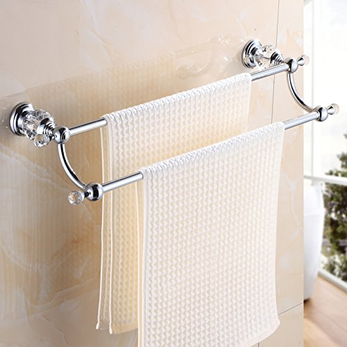 OWOFAN Brass&Crystal Series Bath Towel Rack Bathroom Shelf with Double Towel Bar 60 CM Storage Organizer Wall Mount, Chrome(Silver) HK-22L by OWOFAN