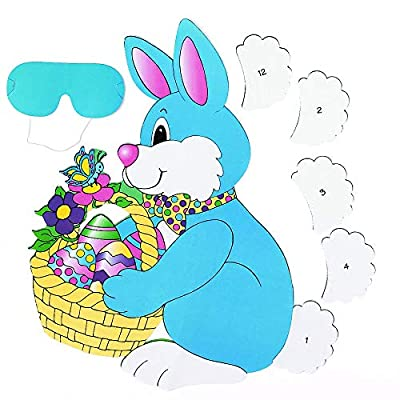 """Pin The Tail On The Bunny"" Party Game For Children, Easter Party Supplies, Classic Birthday Games(Includes Instructions and Blindfold): Toys & Games"