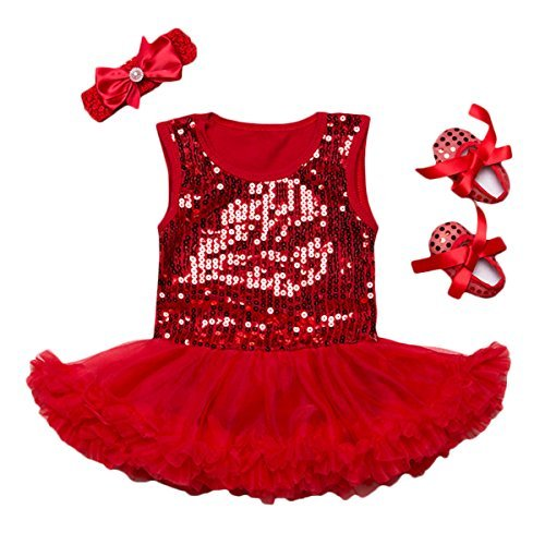Baby Girls Sequined Romper Dress Headband Shoes 3Pcs Outfits (S (0-3 Months), red)