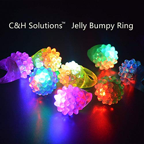 C&H Solutions Novelty 48 ct Flashing LED Bumpy Rings Blinking Soft Jelly Glow by C&H -