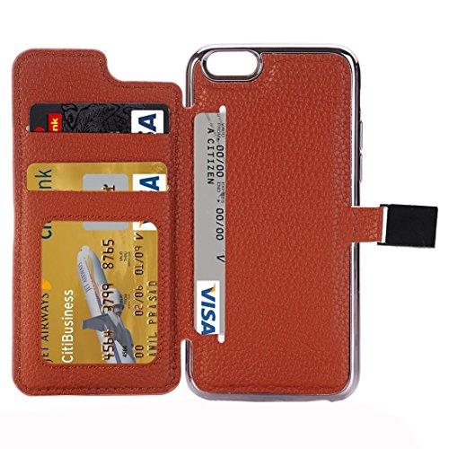 Protege tu iPhone, Para el iPhone 6 y 6sLitchi Textura Horizontal Flip caja de cuero con el titular y CardSlots Para el teléfono celular de Iphone. ( Color : Magenta ) Café