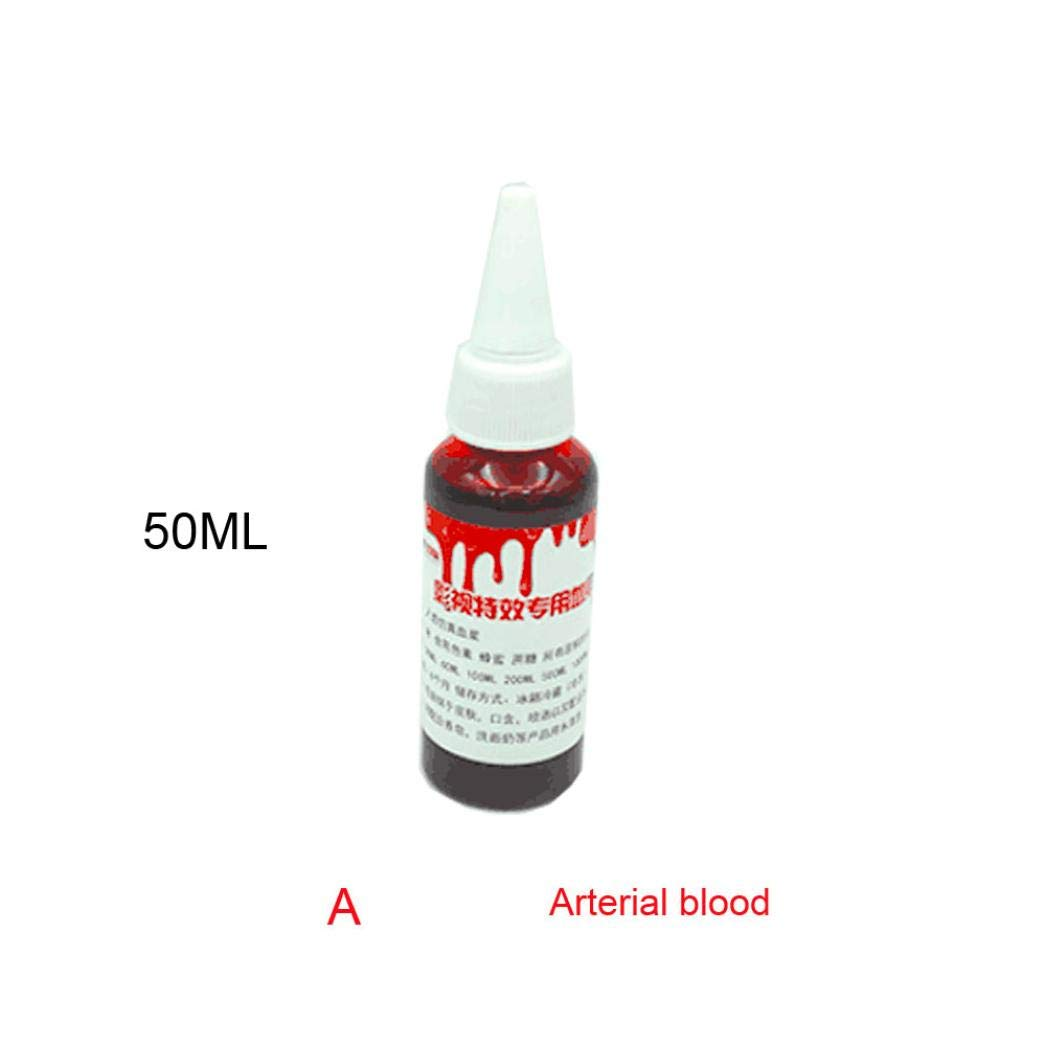 Fake Blood,FTXJ 50ML/100ML Halloween Fake Blood Ultra-Realistic Simulation Human Vampire Party Make Up Prop (Red A, 50 MLBlood)