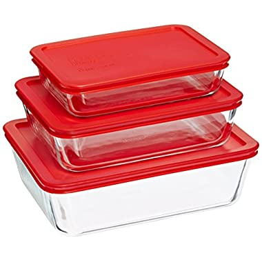 Pyrex Bakeware/Cookware Set with Red Plastic Covers 6 Piece, 3 Lids and 3 Boxes