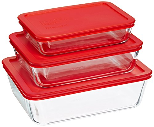 (Pyrex Simply Store Glass Rectangular Food Container Set with Red Lids (6-Piece))