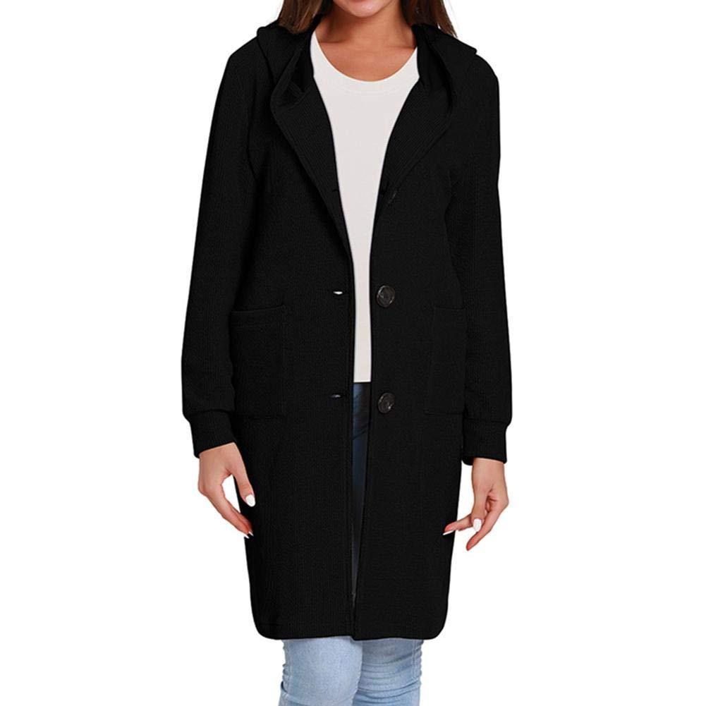 Kuyuu Women's Long Sleeve Hooded Knit Button Sweater Coat Cardigan Classic Coat Jacket