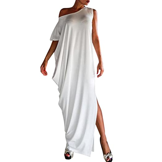 31fe34fb1210f Gocheaper Women Backless Maxi Dress Splice Lace Asymmetrical Evening Dress  Floor-Length (S,