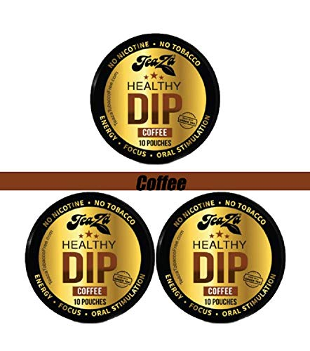 TeaZa Herbal Energy Supplement Healthy Tobacco Dip Alternative 3 Pucks - Coffee