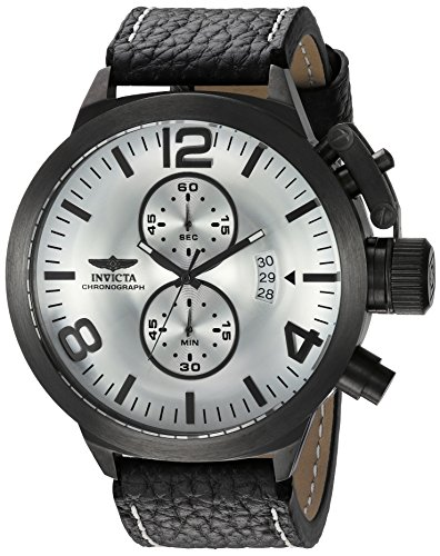 Invicta Men's 'Corduba' Quartz Stainless Steel and Leather Casual Watch, Color:Black