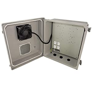 Altelix 14x12x8 Fiberglass Vented Weatherproof Heated NEMA Enclosure with Cooling Fan 200W Heater and 120 VAC Outlet