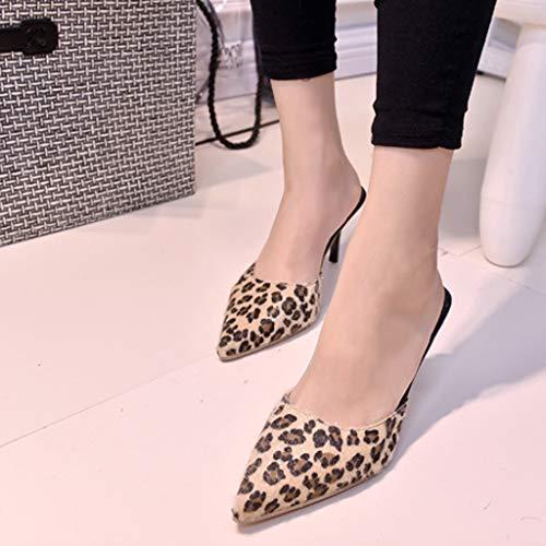 Pour De Léopard Pointu Talons Bout À Femmes Sandales Zyueer Femmes Stiletto High Sandales Heels Open Hauts Pour Toe Jaune À xzTwIa
