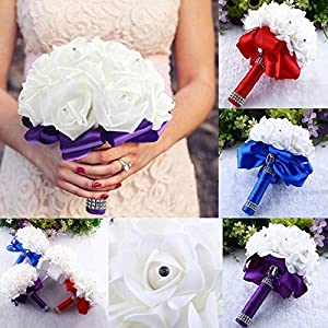 Yu2d  Crystal Roses Pearl Bridesmaid Wedding Bouquet Bridal Artificial Silk Flowers 86