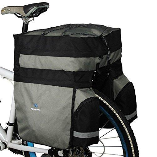 Roswheel 60L Fahrrad Beutel Fahrrad Doppelseite Gepaecktraeger Hecksitz Tasche grau + schwarz
