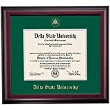Campus Linens Delta State Statesmen Diploma Frame Green Gray Matting Embossed Seal