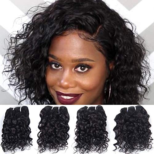 Brazilian Wet And Wavy Human Hair Weave 4 Bundles Virgin Natural Wave Remy Hair Extensions Unprocessed 8A Grade 8 Inch Natural Black Color 50g/pc