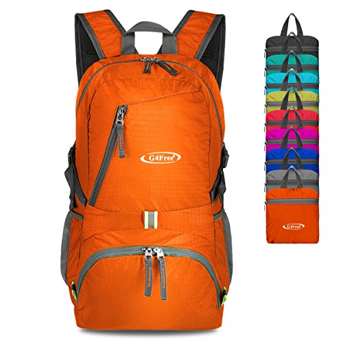 G4Free 40L Lightweight Packable Durable Travel Hiking Backpack Handy Foldable Camping Outdoor Backpack Daypack (Orange)