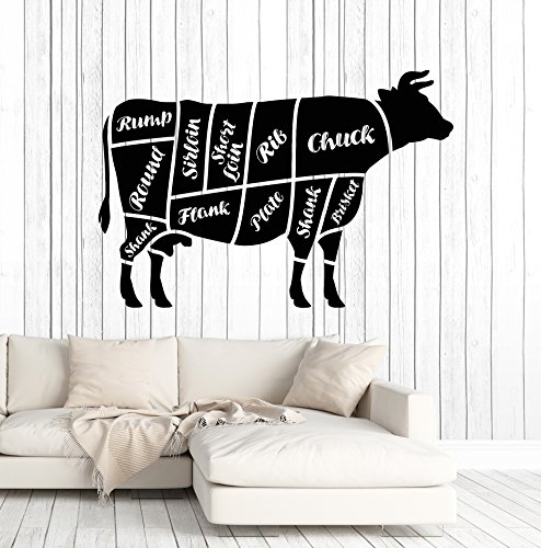 Vinyl Wall Decal Butcher Shop Beef Meat Kitchen Decor Stickers Mural Large Decor (ig4691) Burgundy