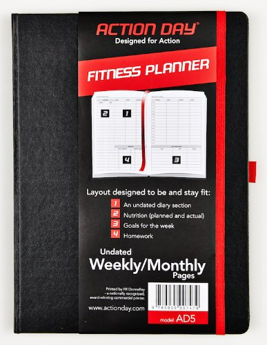 - Action Day Fitness Planner - Undated Weekly/Monthly Pages - Size 6x8 - Layout Designed to Be and Stay Fit - Food & Fitness Journal - (Workout (+) Nutrition (+) Exercise Diary)