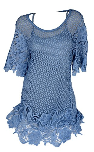 2tlg Twinset Kombi Lagenlook Hakel Spitze Tunika Kleid Shirt Top Sommer Blau 36 38 40 42 S M L Urlaub Party Club