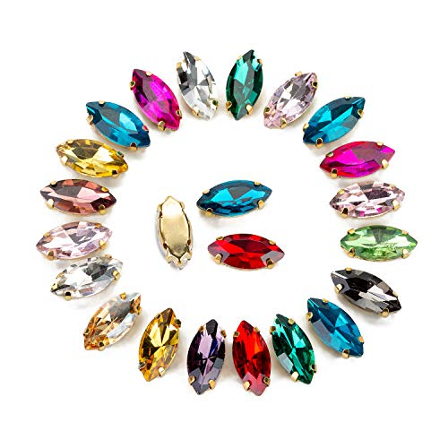 - Navette Sew On Crystal Rhinestone in Gold Color Prong Setting Flat Back 50 Pcs 7x15 mm by Choupee (Mixed Color)