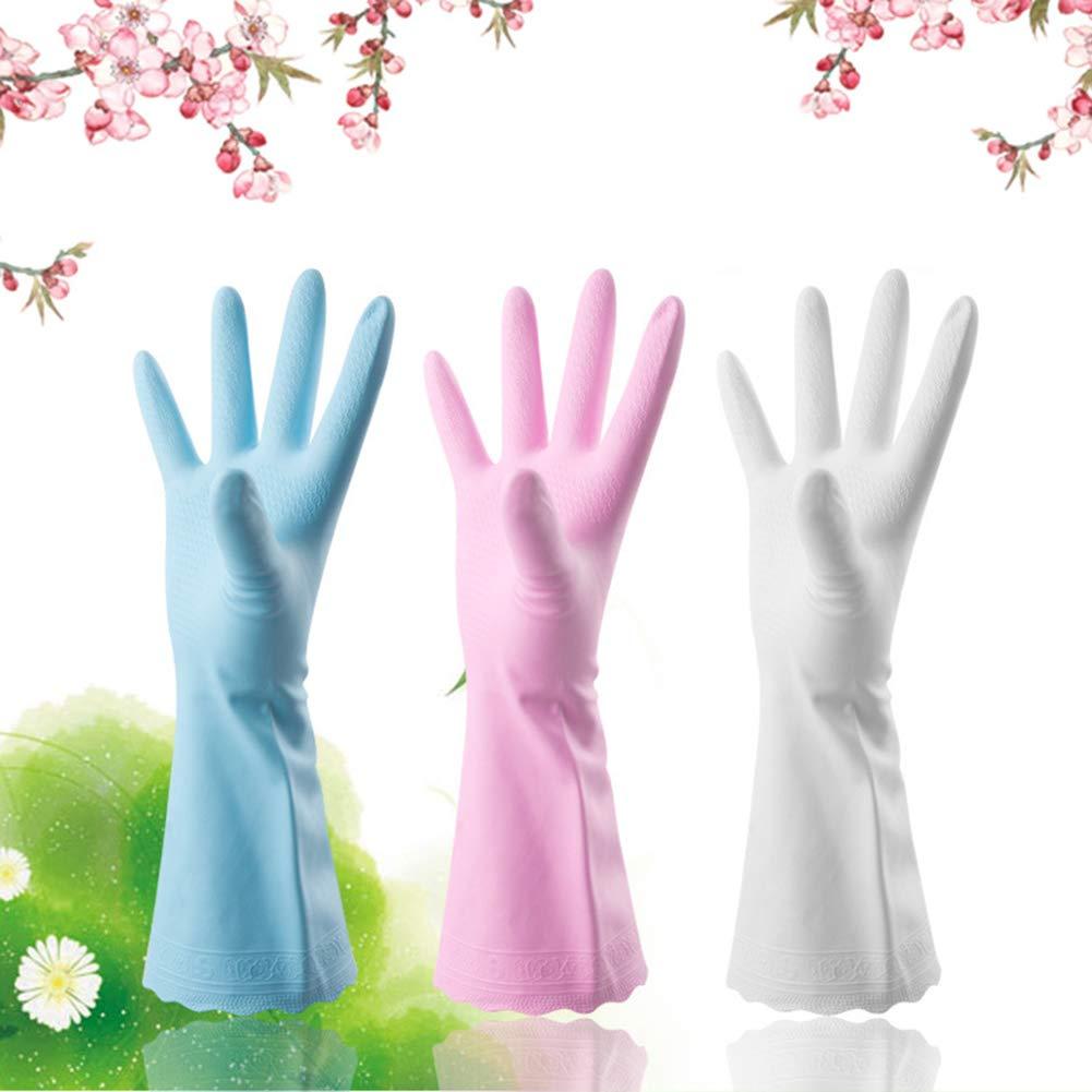 krys Tal Love pulizia guanti di casa in caucci/ù Guanti impermeabile in gomma Guanti in pizzo per cucina casa lavoro quotidiana bianco Medium