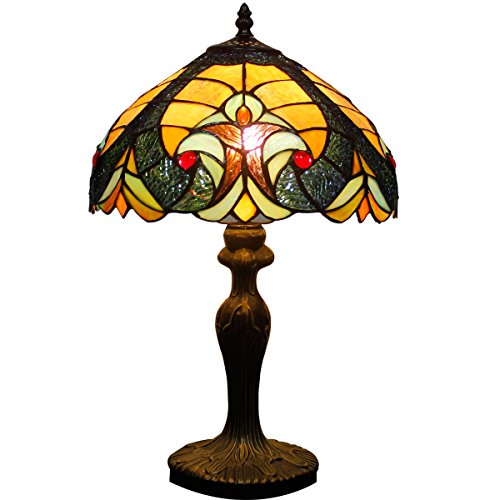 - Tiffany Style Table lamp Desk Light 18 inch Tall Blue Liaison Stained Glass Lampshade