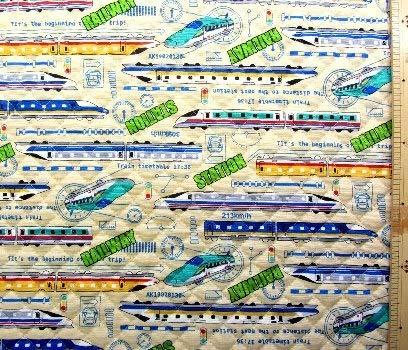 <プリント・キルティング生地>スーパー・エクスプレス(クリーム)#2 (乗り物 電車 新幹線 JR かわいい おしゃれ 男の子 女の子 子供 入園 入学 ピロル)の商品画像