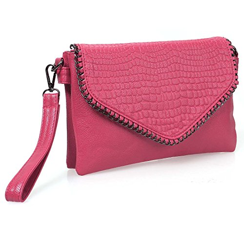 BMC Womens Pretty Pink Textured PU Faux Leather Alloy Metal Accent Flap Multi Compartment Fashion Clutch Handbag - Faux Crocodile Skin Handbag