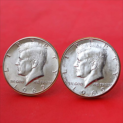 US 1969 Kennedy Half Dollar 40% Silver Coin Gold Cufflinks NEW