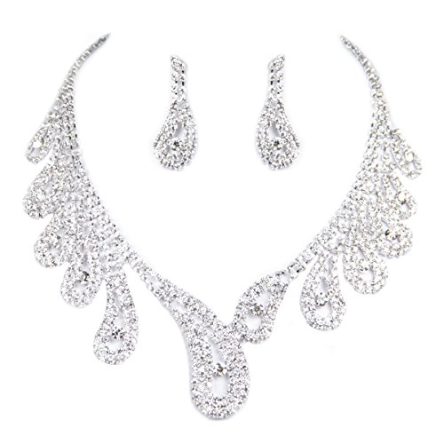 ClearBridal Rhinestones Necklace Earrings Jewelry Sets for Wedding Evening Party 15042a (Set Of Jewelry)