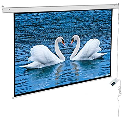"Cloud Mountain 100"" 16:9 Matte White Projector Screen, Electric Motorized, Remote Control"