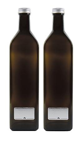Viva-Haushaltswaren – 2 x Marrón Vidrio Botella 1000 ml, aceitera (Incluye 2