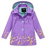 ZSHOW Girl's and Boy's Soft Shell Rain Jacket Waterproof Fleece Jacket,Purple/5 To 6Y