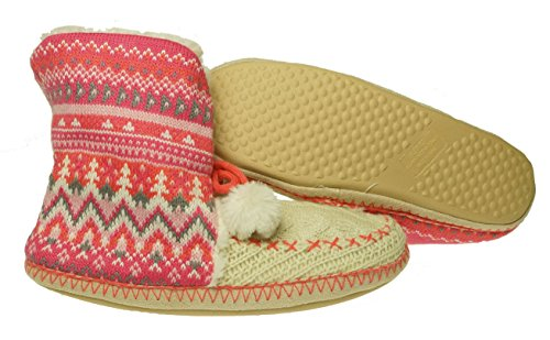 Jenni Womens Knit Bootie Slipper Pink