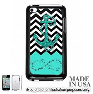Live the Life You Love Infinity Quote - Aqua Black White Chevron with Anchor For Case Iphone 5/5S Cover Touch 4th Hard Case - BLACK by Unique Design Gifts [MADE IN USA]