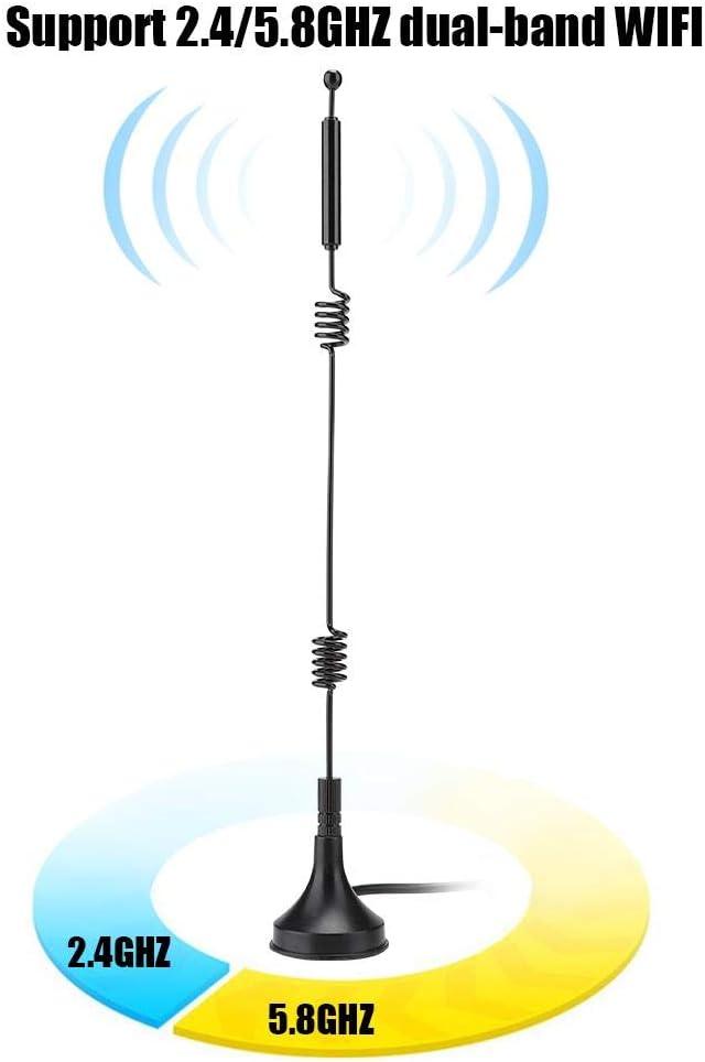 ASHATA Antenna a Doppia elica del Router WiFi Antenna per Router ad Alto Guadagno 12DBi 10M Antenna WiFi omnidirezionale a Doppia Banda 2.4 // 5GHZ