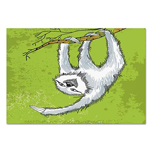 Large Wall Mural Sticker [ Sloth,Smiling Sloth Clutches Hanging on a Decorative Branch Habitat Wildlife Decorative,Light Grey Green White ] Self-adhesive Vinyl Wallpaper / Removable Modern Decorating ()