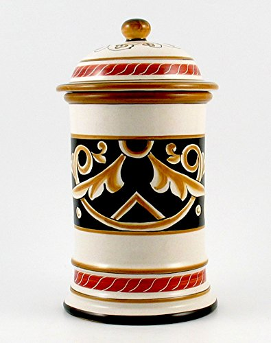 Hand Painted Italian Ceramic 9.8-inch Canister Barocco Nero - Handmade in Deruta by Fima