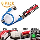 PCIe Riser, Ubit 3 in 1 1x to 16x Pcie Riser Board with LED Light, Custom-made 60 cm USB 3.0 cable, 3 Power Options (6 Pin/SATA/Molex) - Ethereum Bitcoin Crypto Currency Mining - 6 Pack